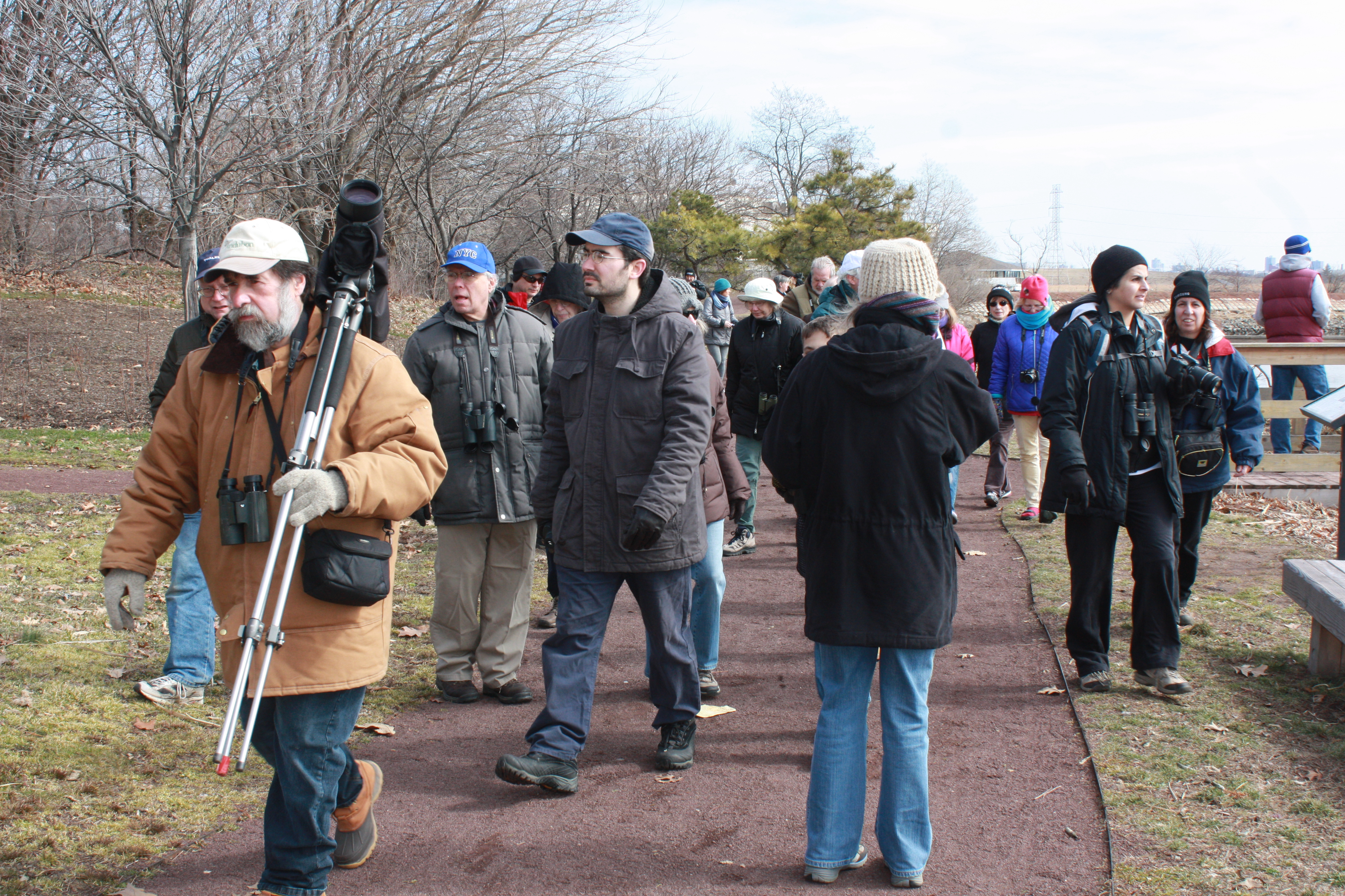 BCAS President Don Torino, far left, leads a Meadowlands Nature Walk