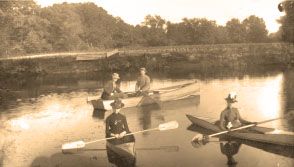 Boating old canoe pic sepia
