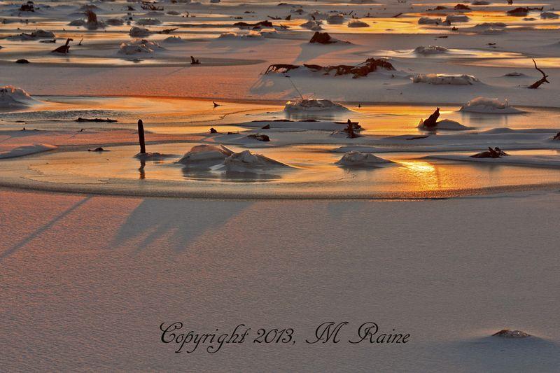 WV 017b2B MCM Mdwlnds NJ Ice n Marsh Stumps Sunset 6x4h 012613 OK BLOG