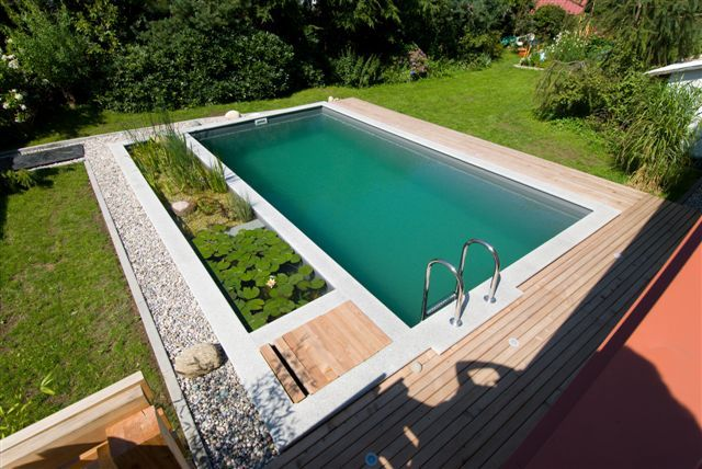 Pool with separate 'filter zone' where natural materials filter water for swimming.