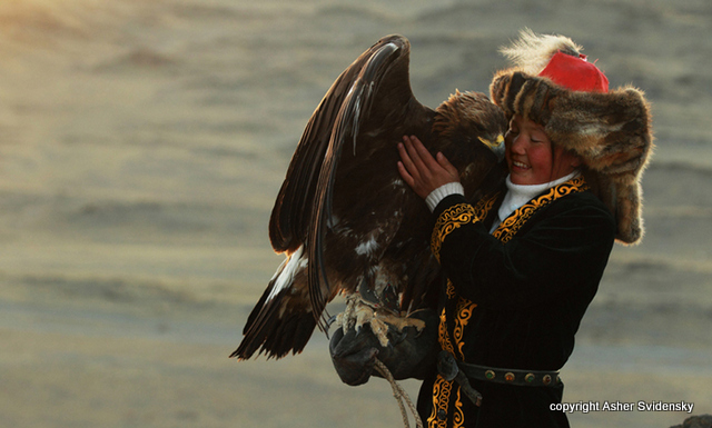 13-year-old Ashol Pan with the Golden Eagle she's training. Photo by Asher Svidensky.