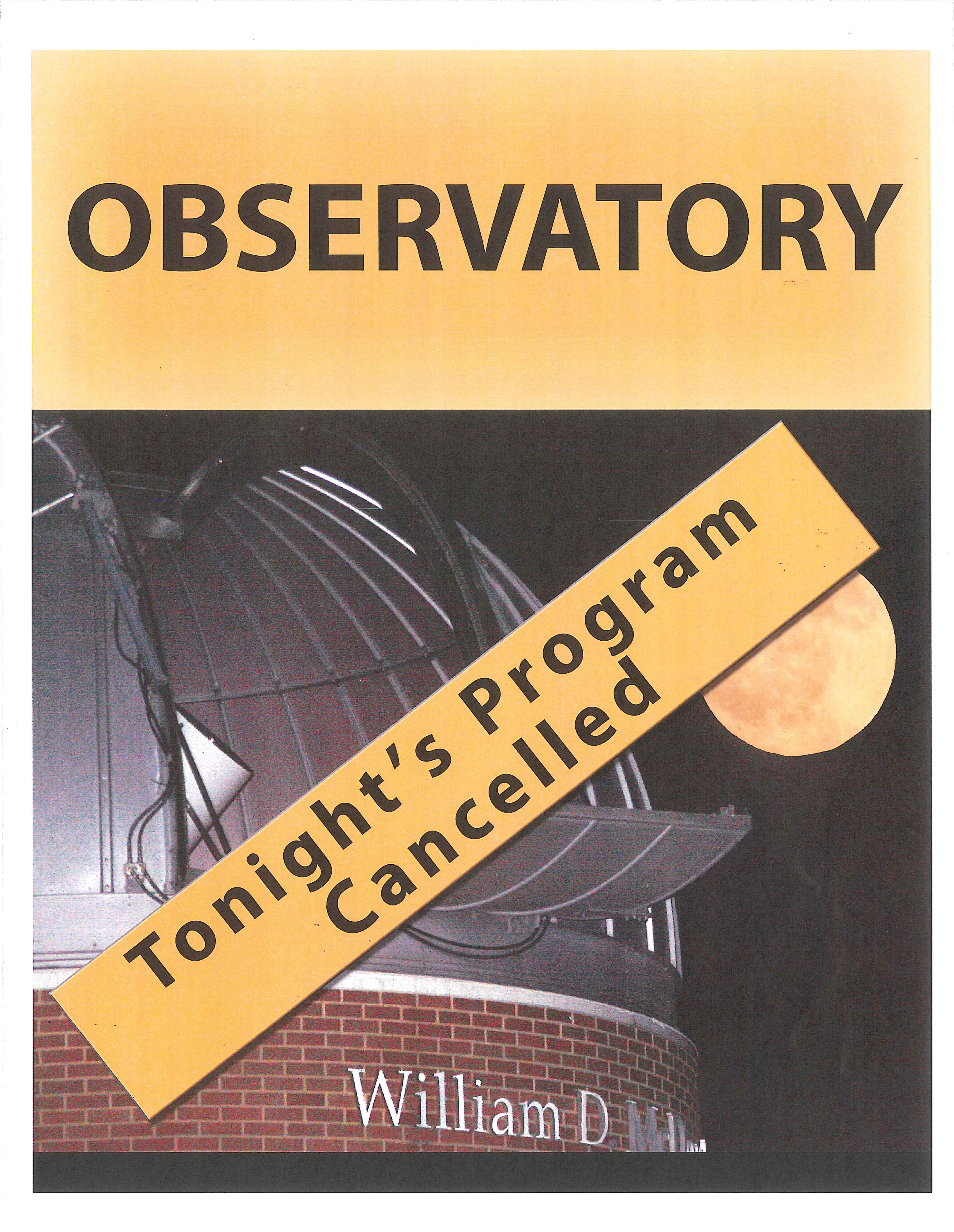 Observatory cancelled